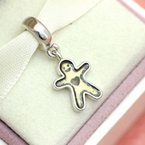 PANDORA Charm Gingerbread Man Sterling Silver new